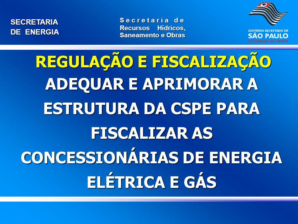 SECRETARIA DE ENERGIA S e c r e t a r i a d e Recursos Hídricos, Saneamento e Obras ADEQUAR E APRIMORAR A ESTRUTURA DA CSPE PARA FISCALIZAR AS CONCESS