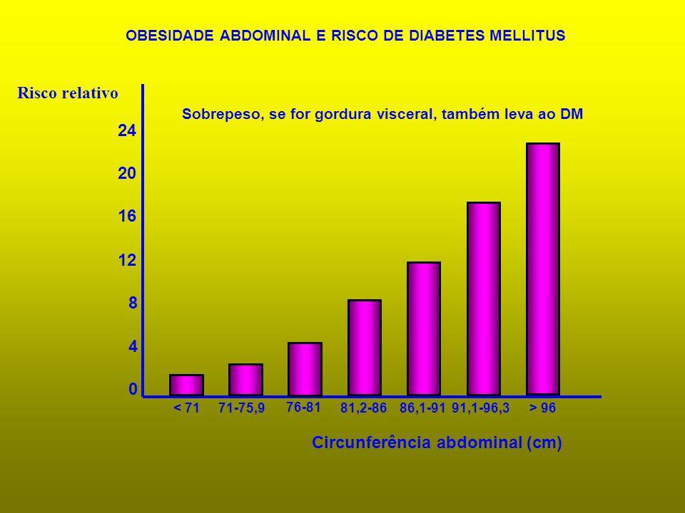 0 4 8 12 16 20 24 OBESIDADE ABDOMINAL E RISCO DE DIABETES MELLITUS Circunferência abdominal (cm) Risco relativo < 7171-75,9 76-81 81,2-8686,1-9191,1-9