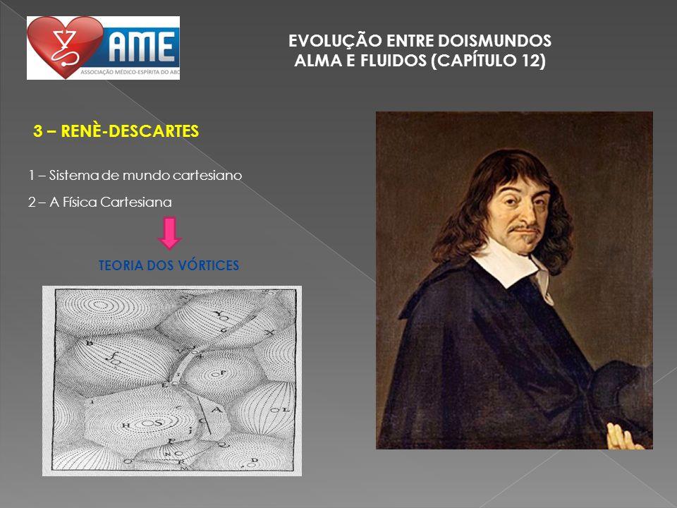 EVOLUÇÃO ENTRE DOISMUNDOS ALMA E FLUIDOS (CAPÍTULO 12) 3 – RENÈ-DESCARTES 1 – Sistema de mundo cartesiano 2 – A Física Cartesiana TEORIA DOS VÓRTICES
