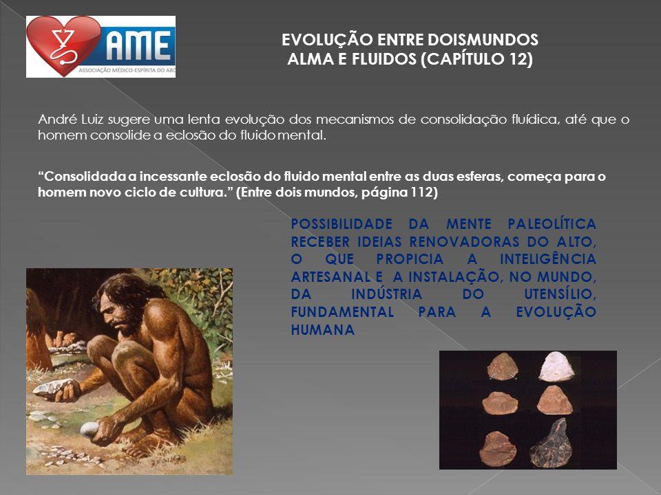 EVOLUÇÃO ENTRE DOISMUNDOS ALMA E FLUIDOS (CAPÍTULO 12) André Luiz sugere uma lenta evolução dos mecanismos de consolidação fluídica, até que o homem c