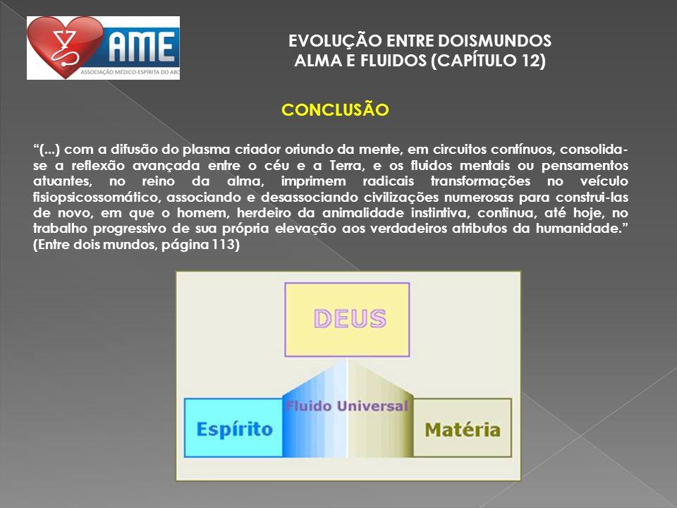 EVOLUÇÃO ENTRE DOISMUNDOS ALMA E FLUIDOS (CAPÍTULO 12) CONCLUSÃO (...) com a difusão do plasma criador oriundo da mente, em circuitos contínuos, conso