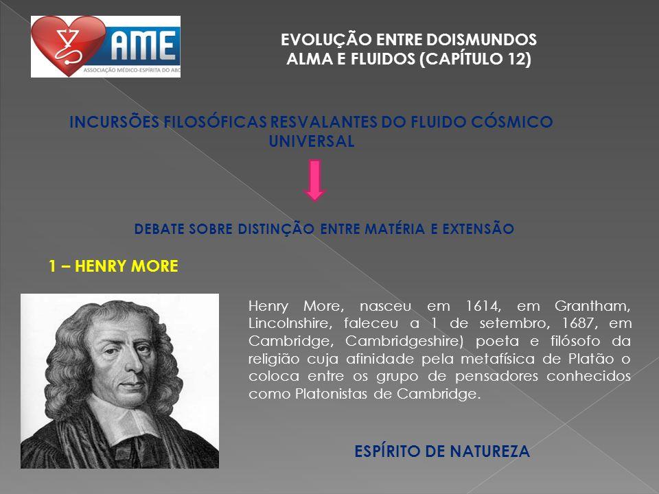 EVOLUÇÃO ENTRE DOISMUNDOS ALMA E FLUIDOS (CAPÍTULO 12) INCURSÕES FILOSÓFICAS RESVALANTES DO FLUIDO CÓSMICO UNIVERSAL Henry More, nasceu em 1614, em Gr