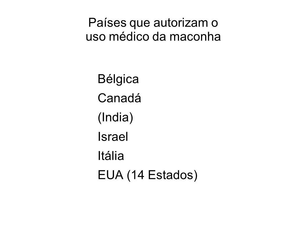 Países que autorizam o uso médico da maconha Bélgica Canadá (India) Israel Itália EUA (14 Estados)