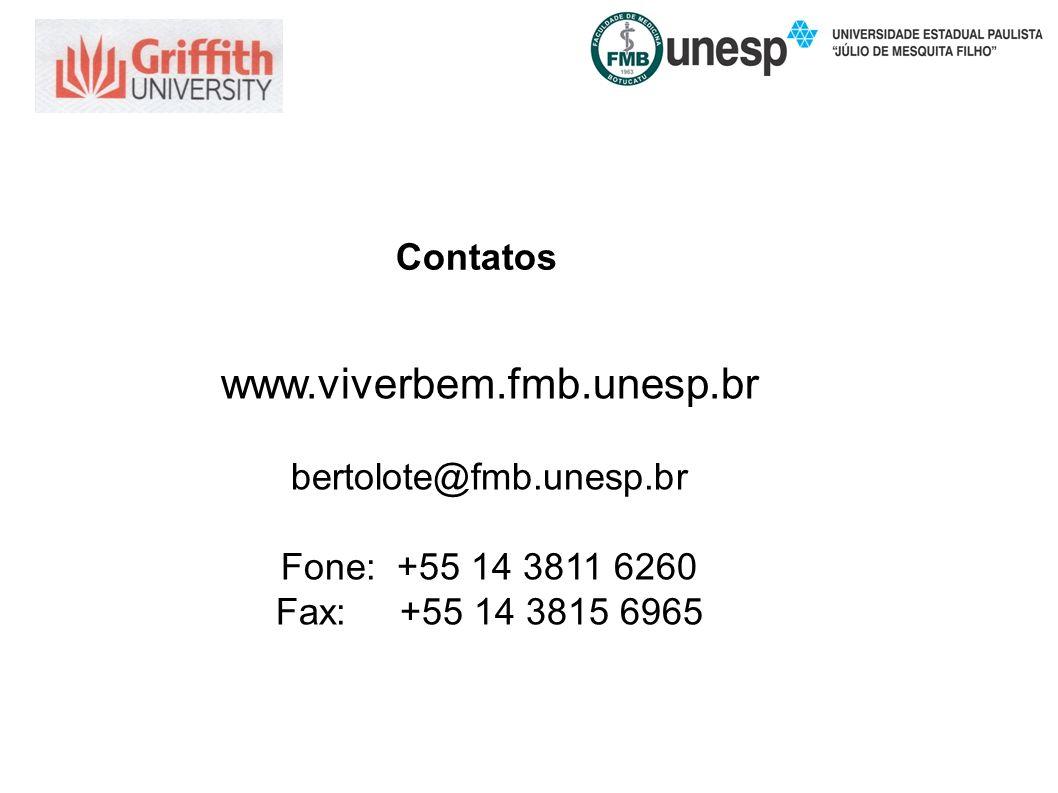 Contatos www.viverbem.fmb.unesp.br bertolote@fmb.unesp.br Fone: +55 14 3811 6260 Fax: +55 14 3815 6965