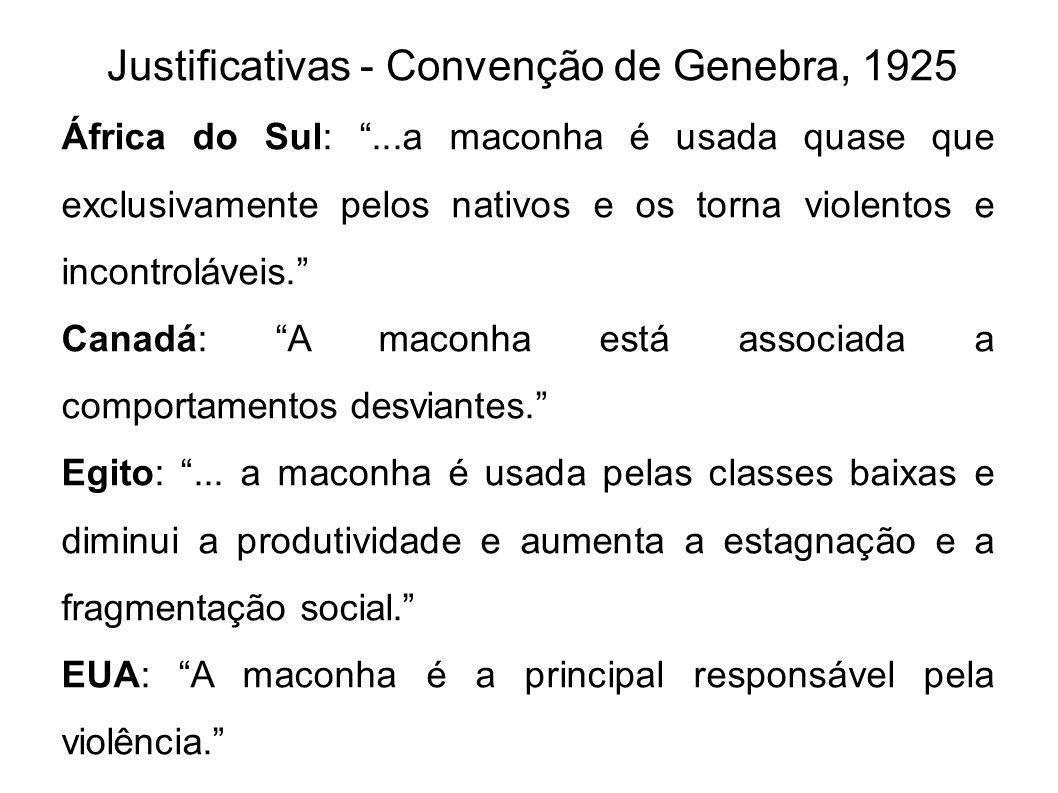 Justificativas - Convenção de Genebra, 1925 África do Sul:...a maconha é usada quase que exclusivamente pelos nativos e os torna violentos e incontrol