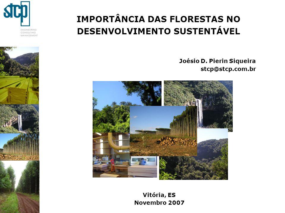 IMPORTÂNCIA DAS FLORESTAS NO DESENVOLVIMENTO SUSTENTÁVEL Joésio D. Pierin Siqueira stcp@stcp.com.br Vitória, ES Novembro 2007