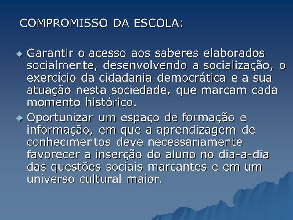 COMPROMISSO DA ESCOLA: COMPROMISSO DA ESCOLA: Garantir o acesso aos saberes elaborados socialmente, desenvolvendo a socialização, o exercício da cidad