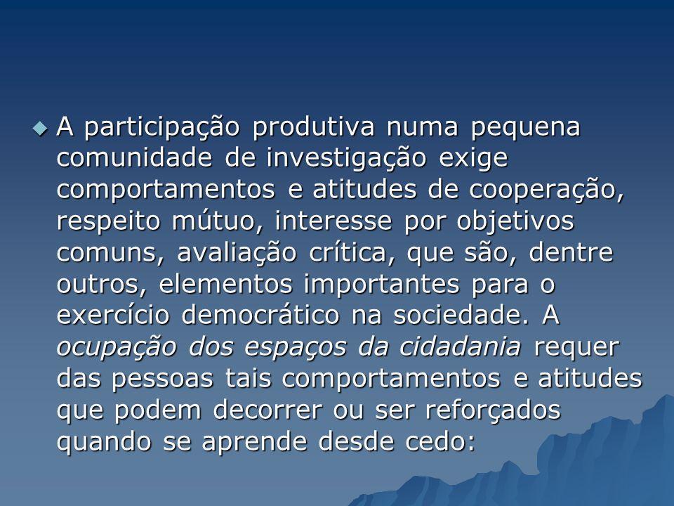 A participação produtiva numa pequena comunidade de investigação exige comportamentos e atitudes de cooperação, respeito mútuo, interesse por objetivo
