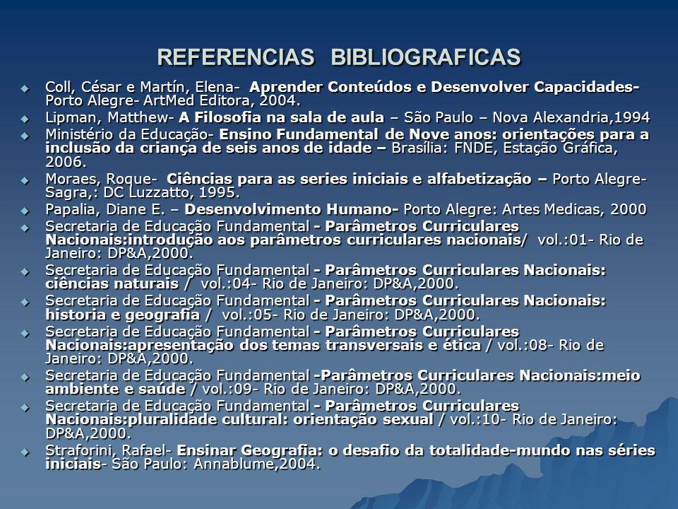 REFERENCIAS BIBLIOGRAFICAS Coll, César e Martín, Elena- Aprender Conteúdos e Desenvolver Capacidades- Porto Alegre- ArtMed Editora, 2004. Coll, César