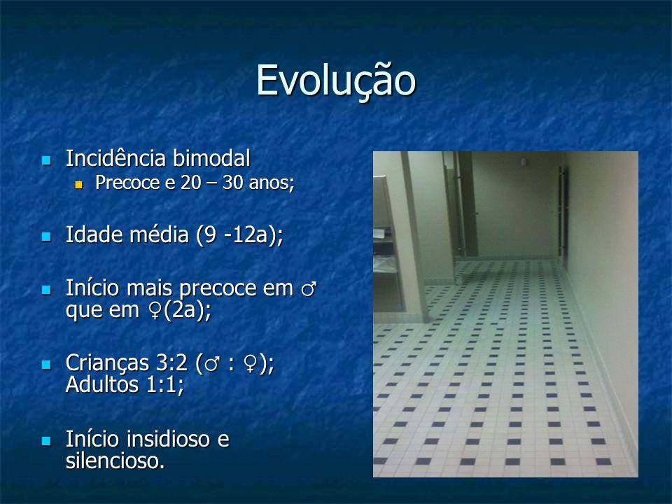 Evolução Incidência bimodal Incidência bimodal Precoce e 20 – 30 anos; Precoce e 20 – 30 anos; Idade média (9 -12a); Idade média (9 -12a); Início mais