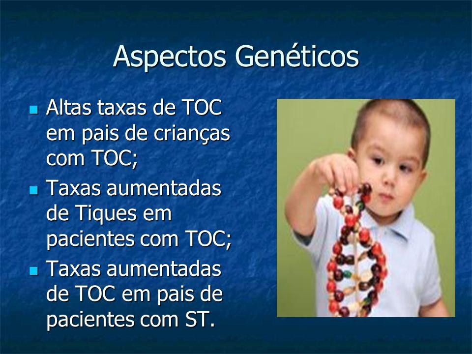 Aspectos Genéticos Altas taxas de TOC em pais de crianças com TOC; Altas taxas de TOC em pais de crianças com TOC; Taxas aumentadas de Tiques em pacie