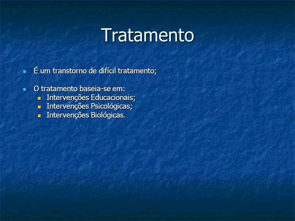 Tratamento É um transtorno de difícil tratamento; É um transtorno de difícil tratamento; O tratamento baseia-se em: O tratamento baseia-se em: Interve