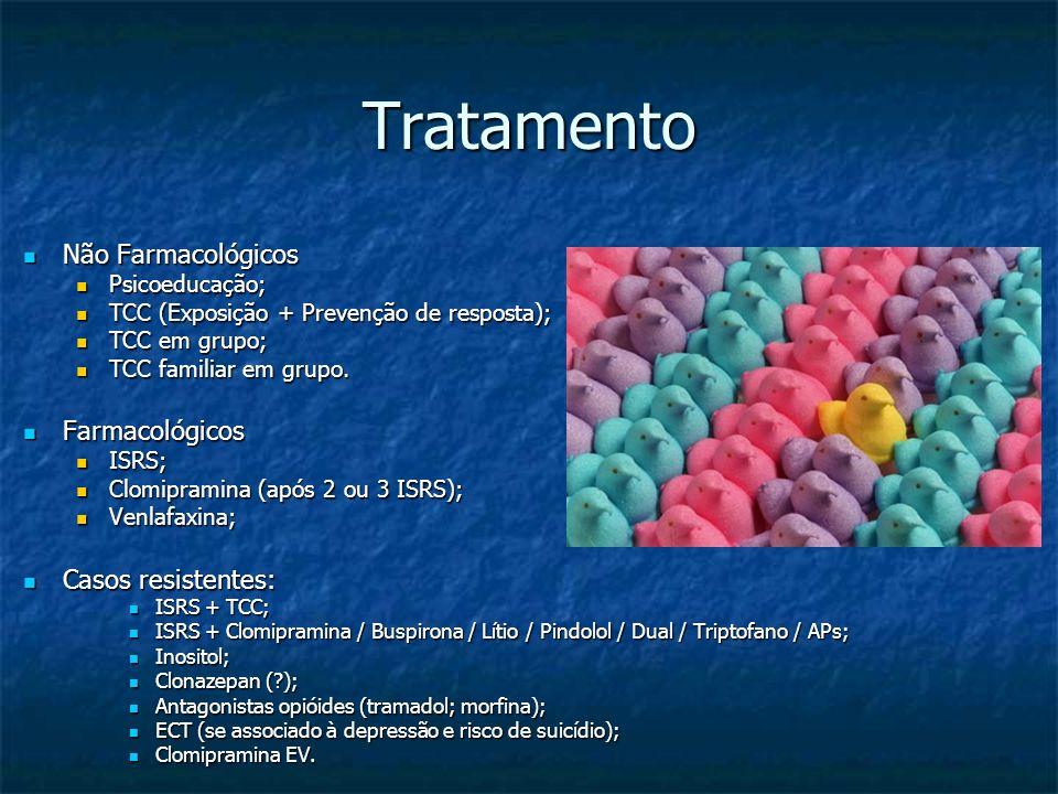Tratamento Não Farmacológicos Não Farmacológicos Psicoeducação; Psicoeducação; TCC (Exposição + Prevenção de resposta); TCC (Exposição + Prevenção de