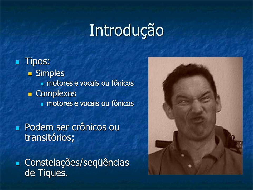 Introdução Tipos: Tipos: Simples Simples motores e vocais ou fônicos motores e vocais ou fônicos Complexos Complexos motores e vocais ou fônicos motor