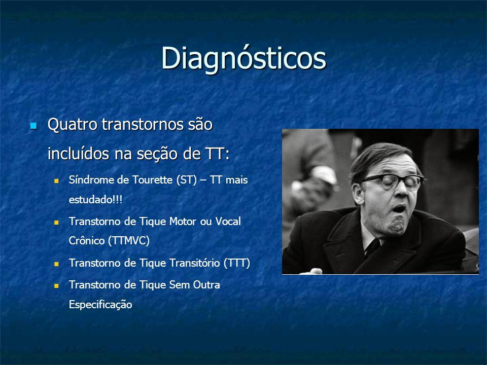 Diagnósticos Quatro transtornos são incluídos na seção de TT: Quatro transtornos são incluídos na seção de TT: Síndrome de Tourette (ST) – TT mais est