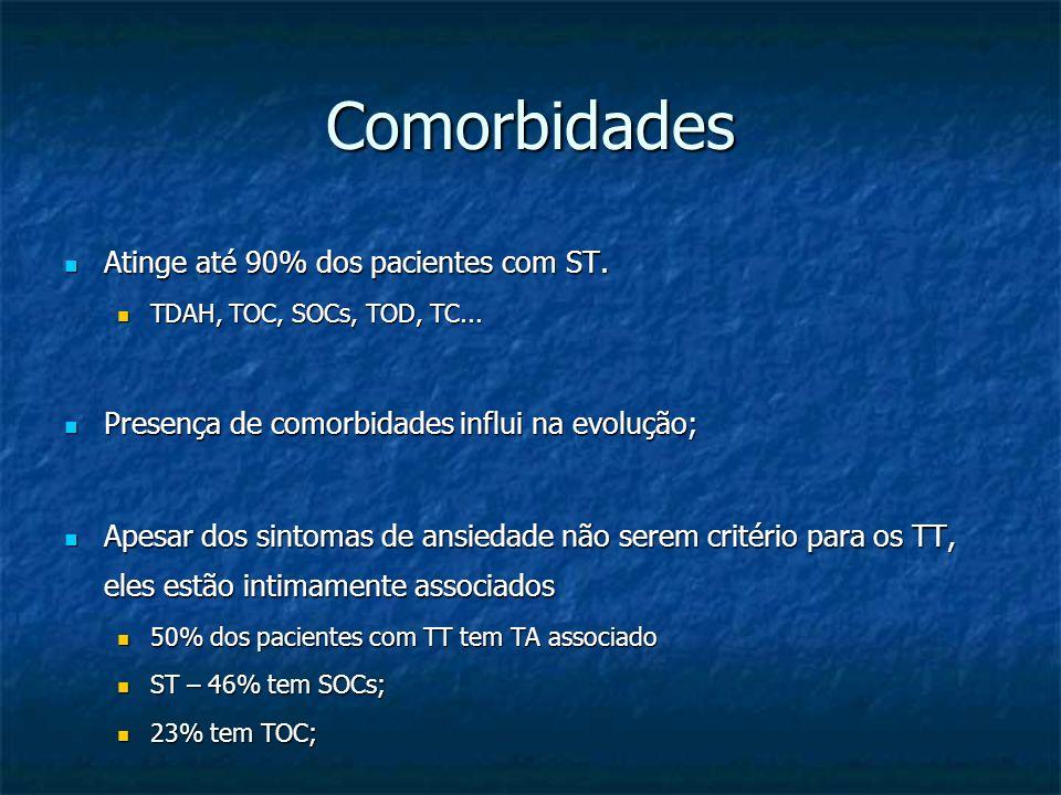 Comorbidades Atinge até 90% dos pacientes com ST. Atinge até 90% dos pacientes com ST. TDAH, TOC, SOCs, TOD, TC... TDAH, TOC, SOCs, TOD, TC... Presenç