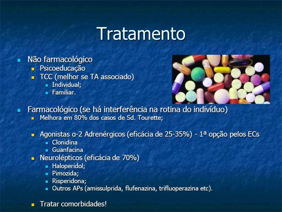 Tratamento Não farmacológico Não farmacológico Psicoeducação Psicoeducação TCC (melhor se TA associado) TCC (melhor se TA associado) Individual; Indiv