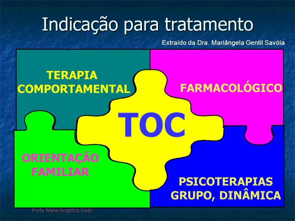 Indicação para tratamento Profa. Maria Angélica Sadir TOC TERAPIA COMPORTAMENTAL FARMACOLÓGICO PSICOTERAPIAS GRUPO, DINÂMICA ORIENTAÇÃO FAMILIAR Extra
