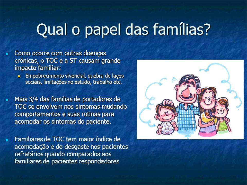 Qual o papel das famílias? Como ocorre com outras doenças crônicas, o TOC e a ST causam grande impacto familiar: Como ocorre com outras doenças crônic
