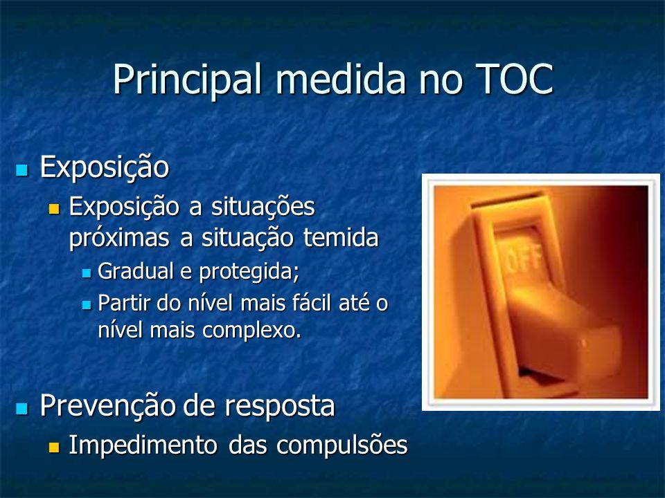 Principal medida no TOC Exposição Exposição Exposição a situações próximas a situação temida Exposição a situações próximas a situação temida Gradual