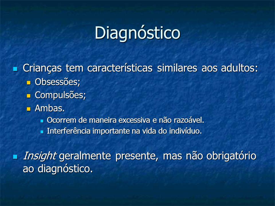 Diagnóstico Crianças tem características similares aos adultos: Crianças tem características similares aos adultos: Obsessões; Obsessões; Compulsões;