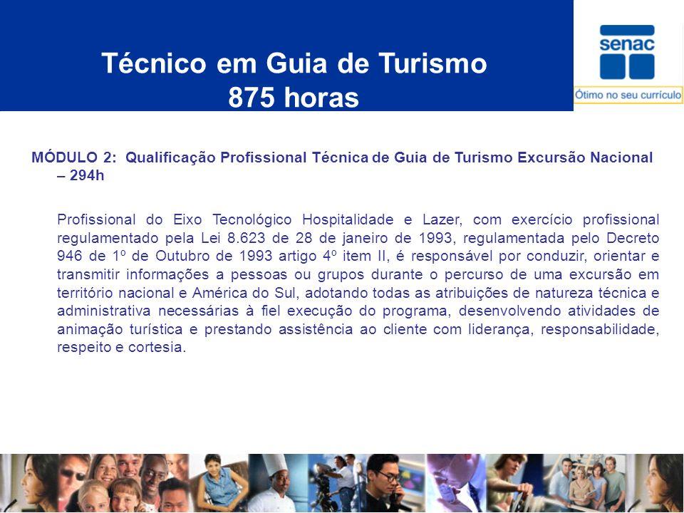Técnico em Guia de Turismo 875 horas MÓDULO 2: Qualificação Profissional Técnica de Guia de Turismo Excursão Nacional – 294h Profissional do Eixo Tecn