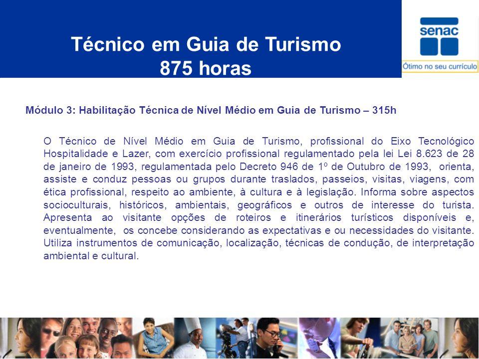 Técnico em Guia de Turismo 875 horas Módulo 3: Habilitação Técnica de Nível Médio em Guia de Turismo – 315h O Técnico de Nível Médio em Guia de Turism