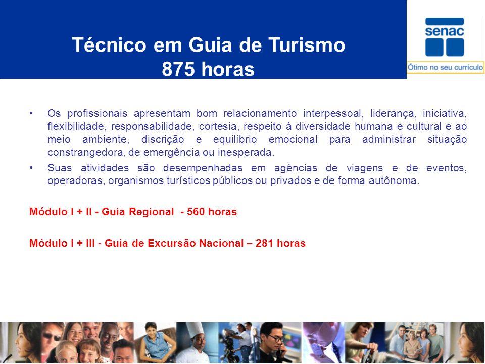 Técnico em Guia de Turismo 875 horas Os profissionais apresentam bom relacionamento interpessoal, liderança, iniciativa, flexibilidade, responsabilida