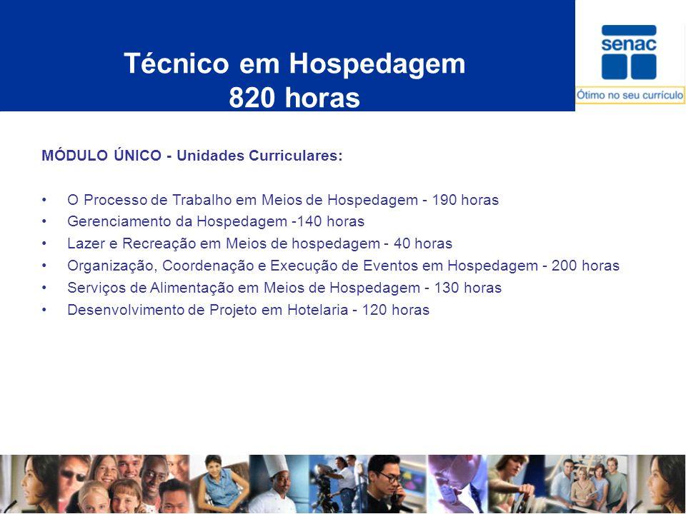 Técnico em Hospedagem 820 horas MÓDULO ÚNICO - Unidades Curriculares: O Processo de Trabalho em Meios de Hospedagem - 190 horas Gerenciamento da Hospe