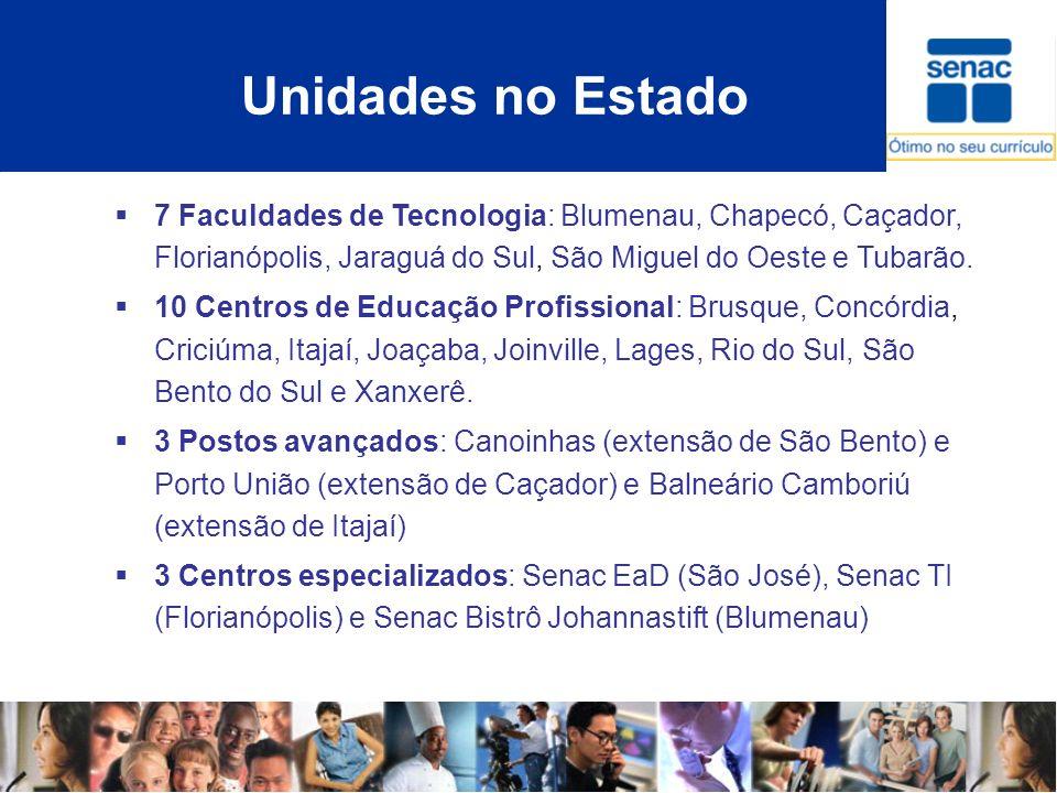 Unidades no Estado 7 Faculdades de Tecnologia: Blumenau, Chapecó, Caçador, Florianópolis, Jaraguá do Sul, São Miguel do Oeste e Tubarão. 10 Centros de