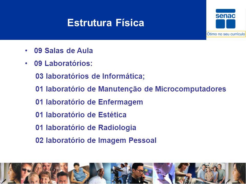 Estrutura Física 09 Salas de Aula 09 Laboratórios: 03 laboratórios de Informática; 01 laboratório de Manutenção de Microcomputadores 01 laboratório de