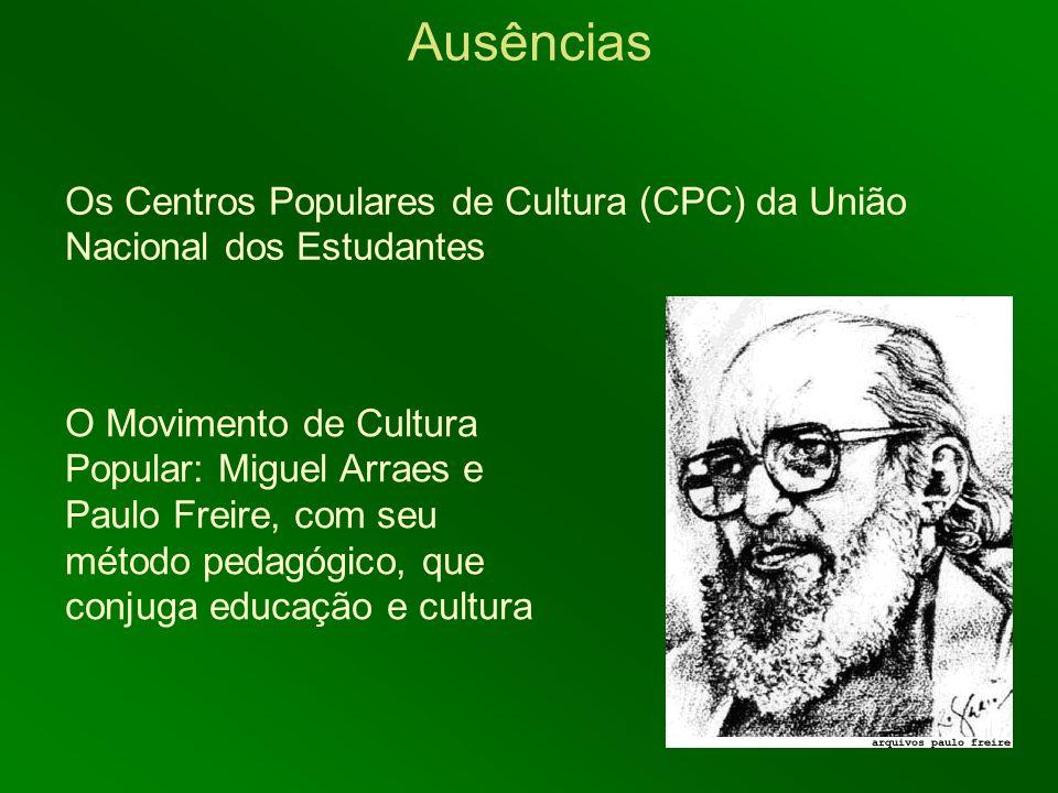 Os Centros Populares de Cultura (CPC) da União Nacional dos Estudantes Ausências O Movimento de Cultura Popular: Miguel Arraes e Paulo Freire, com seu