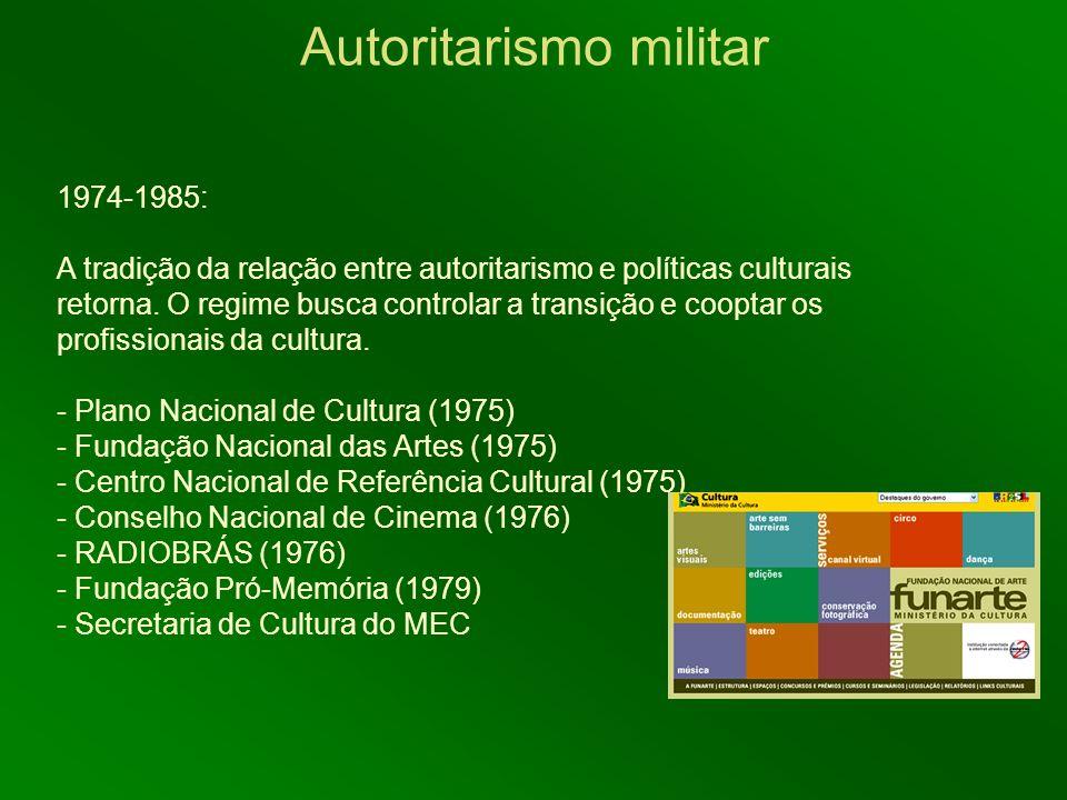 1974-1985: A tradição da relação entre autoritarismo e políticas culturais retorna. O regime busca controlar a transição e cooptar os profissionais da