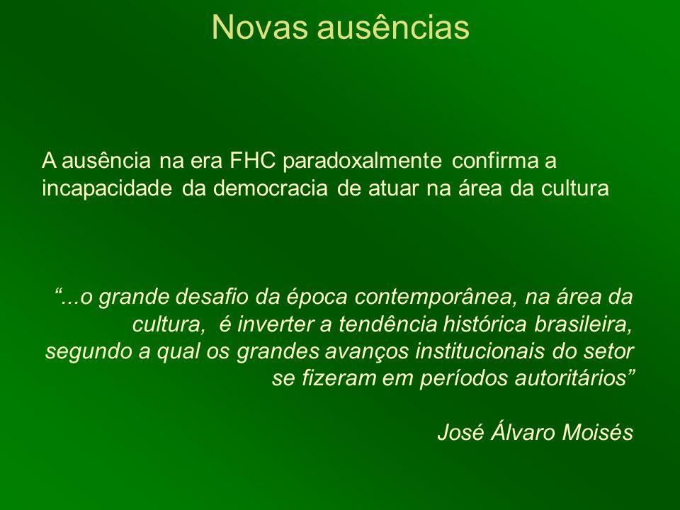A ausência na era FHC paradoxalmente confirma a incapacidade da democracia de atuar na área da cultura...o grande desafio da época contemporânea, na á