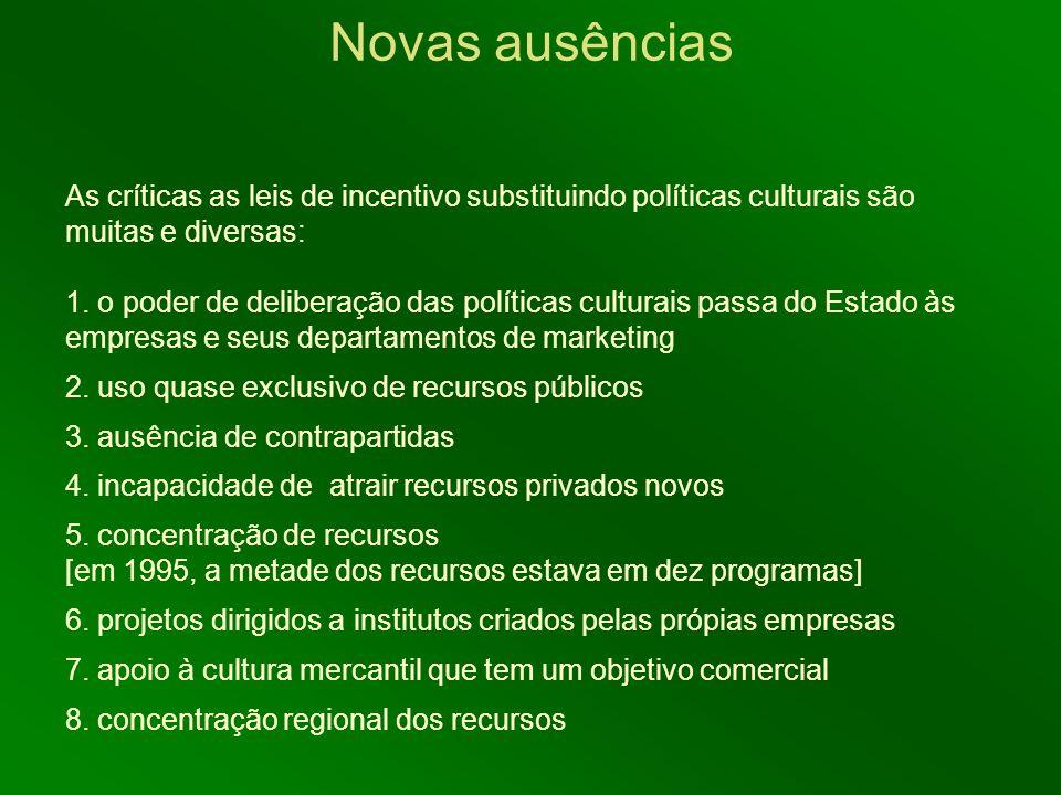 As críticas as leis de incentivo substituindo políticas culturais são muitas e diversas: 1. o poder de deliberação das políticas culturais passa do Es