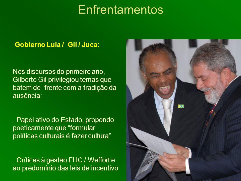 Enfrentamentos Nos discursos do primeiro ano, Gilberto Gil privilegiou temas que batem de frente com a tradição da ausência:. Papel ativo do Estado, p