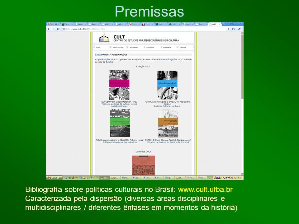 Premissas Bibliografía sobre políticas culturais no Brasil: www.cult.ufba.br Caracterizada pela dispersão (diversas áreas disciplinares e multidiscipl