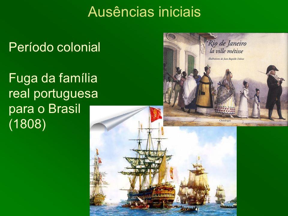 Ausências iniciais Período colonial Fuga da família real portuguesa para o Brasil (1808)