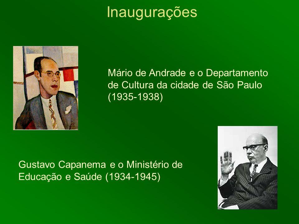 Inaugurações Gustavo Capanema e o Ministério de Educação e Saúde (1934-1945) Mário de Andrade e o Departamento de Cultura da cidade de São Paulo (1935