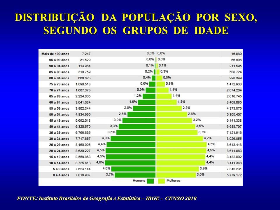 FONTE: Instituto Brasileiro de Geografia e Estatística – IBGE - CENSO 2010 DISTRIBUIÇÃO DA POPULAÇÃO POR SEXO, SEGUNDO OS GRUPOS DE IDADE