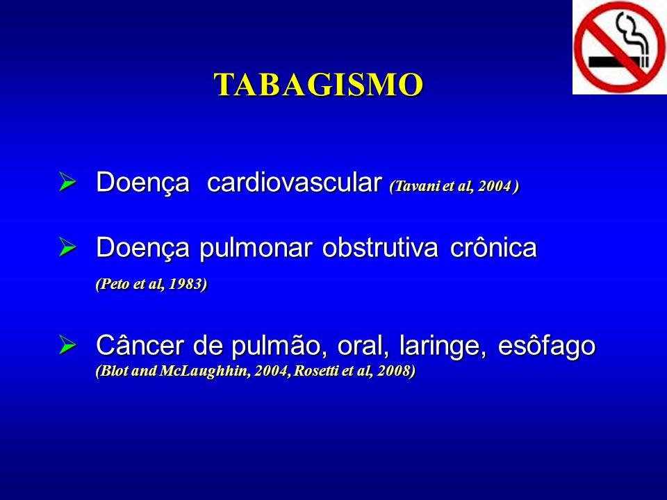 Doença cardiovascular (Tavani et al, 2004 ) Doença cardiovascular (Tavani et al, 2004 ) Doença pulmonar obstrutiva crônica (Peto et al, 1983) Doença p