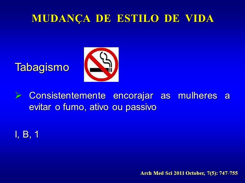 Tabagismo Consistentemente encorajar as mulheres a evitar o fumo, ativo ou passivo Consistentemente encorajar as mulheres a evitar o fumo, ativo ou pa