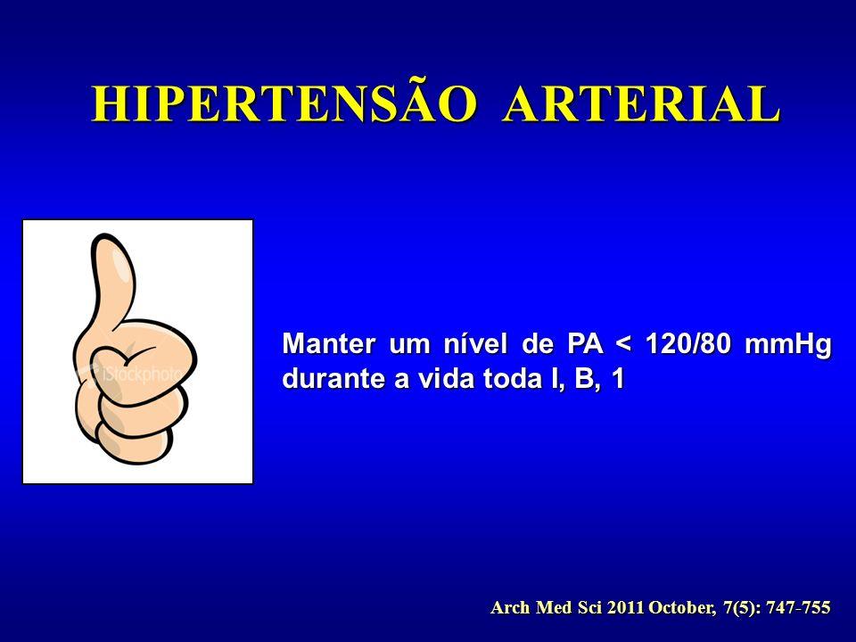Manter um nível de PA < 120/80 mmHg durante a vida toda I, B, 1 Arch Med Sci 2011 October, 7(5): 747-755