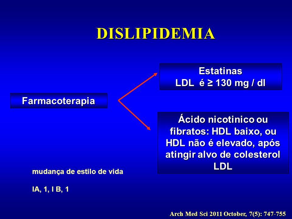 mudança de estilo de vida IA, 1, I B, 1 Arch Med Sci 2011 October, 7(5): 747-755 Farmacoterapia Estatinas LDL é 130 mg / dl Ácido nicotinico ou fibrat