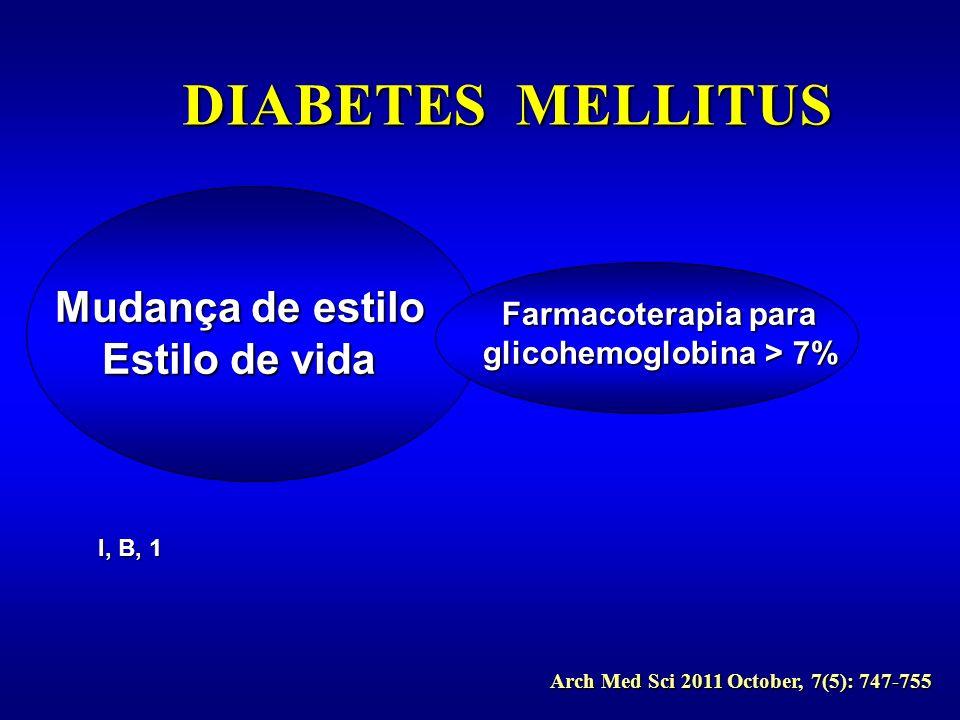 I, B, 1 Arch Med Sci 2011 October, 7(5): 747-755 Mudança de estilo Estilo de vida Farmacoterapia para glicohemoglobina > 7%