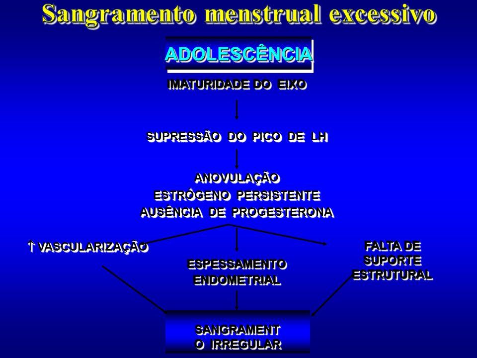 SANGRAMENT O IRREGULAR VASCULARIZAÇÃO VASCULARIZAÇÃO ESPESSAMENTOENDOMETRIALESPESSAMENTOENDOMETRIAL FALTA DE SUPORTE ESTRUTURAL IMATURIDADE DO EIXO SU