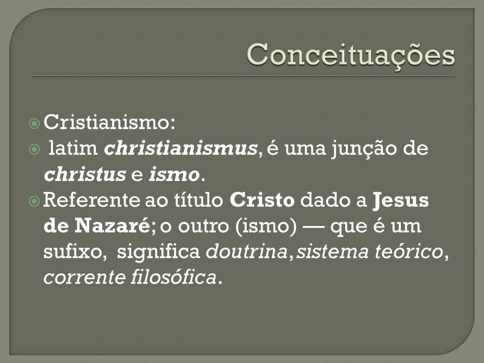 Cristianismo: latim christianismus, é uma junção de christus e ismo. Referente ao título Cristo dado a Jesus de Nazaré; o outro (ismo) que é um sufixo