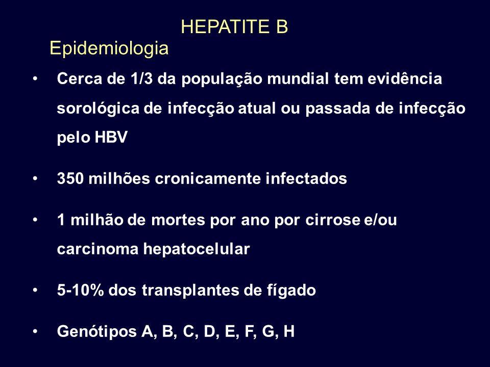 HEPATITE B Cerca de 1/3 da população mundial tem evidência sorológica de infecção atual ou passada de infecção pelo HBV 350 milhões cronicamente infec