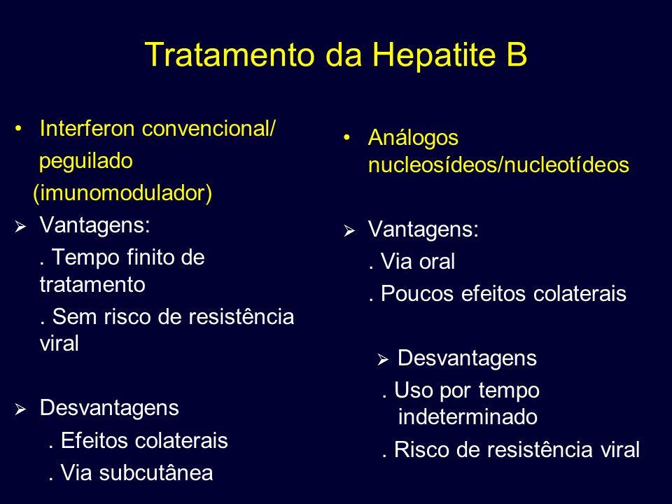 Tratamento da Hepatite B Interferon convencional/ peguilado (imunomodulador) Vantagens:. Tempo finito de tratamento. Sem risco de resistência viral De