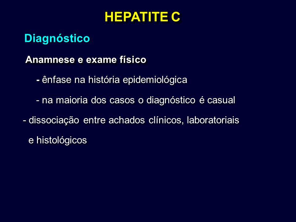 HEPATITE C Anamnese e exame físico Anamnese e exame físico - ênfase na história epidemiológica - na maioria dos casos o diagnóstico é casual - dissoci